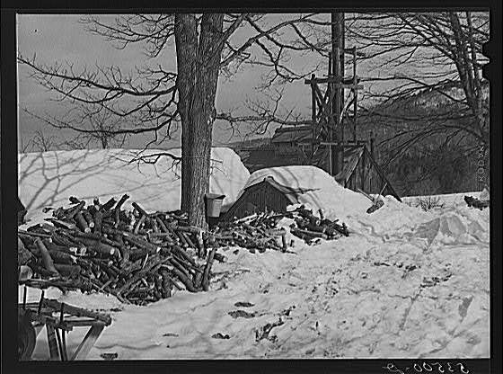 Snow Wood Piles North Bridgewater Vermont