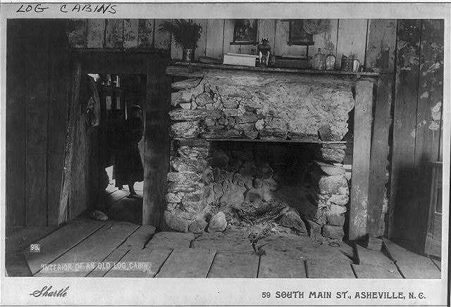 Log cabin fireplace, Asheville North Carolina